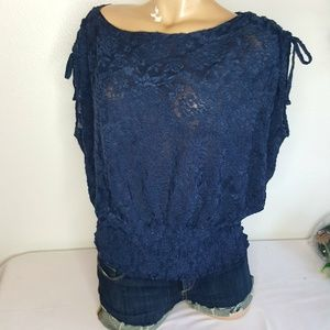 Anthropology's Deletta blue lace top size L